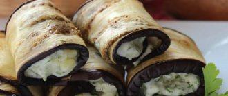 Рулетики из баклажанов с картофелем и зеленью